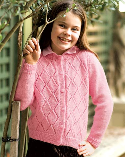 PT8209 - Girl's Diamond Lace Cardigan - 8 Ply