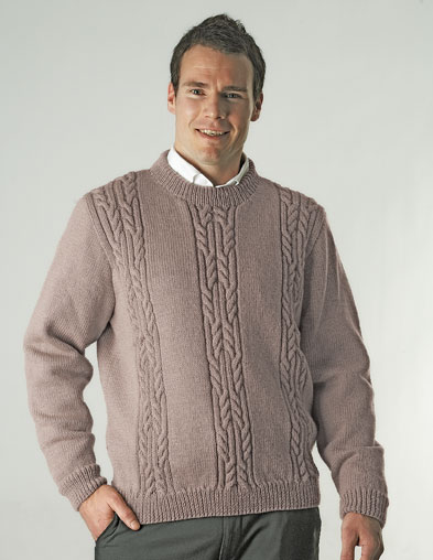 PT8224 - Men's Cabled Panel Jumper - 8 Ply