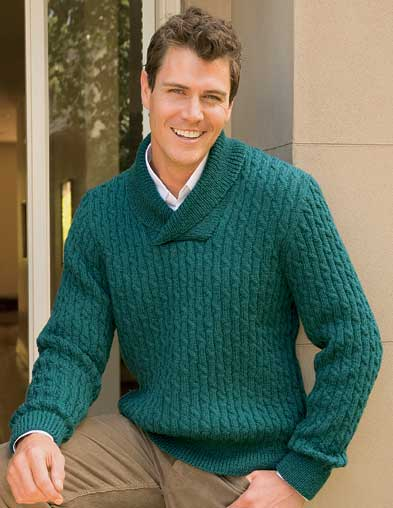 PT8238 - Men's Shawl Collared, Cabled Jumper - 8 Ply