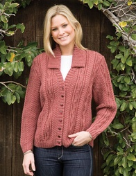 PT8245 - Cabled Cardigan with Optional Collar - 8 Ply
