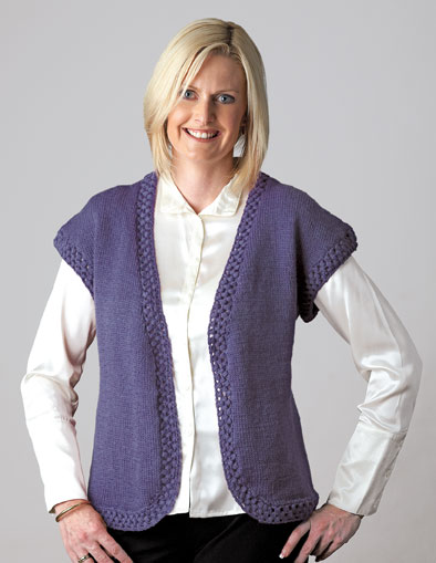 PT8262 - Sleeveless Jacket with Crochet Edge