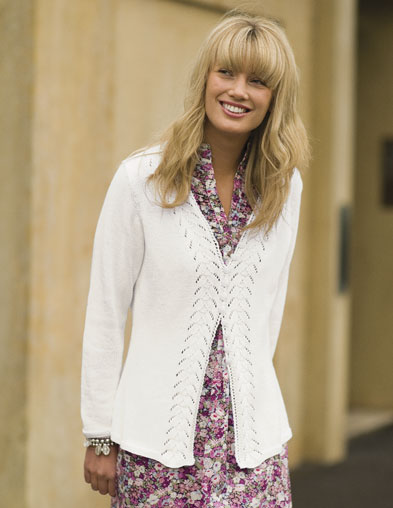 PT8278 - Long Sleeve Lace Edged Cardigan - 4 Ply Cotton