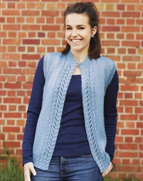 PT8320 - Open vest with cable and lace edging - 8 Ply