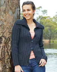 PT8332 - Ribbed cardigan with wide collar - 8 Ply