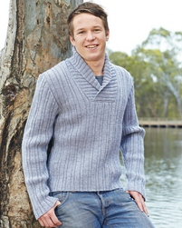 PT8327 - Mens ribbed jumper with shawl collar - 8 Ply