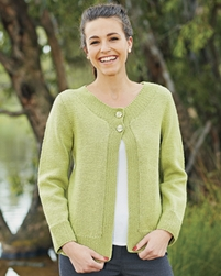 PT8333 - Cardigan with moss bands - 8 Ply