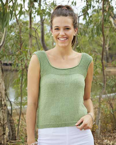 PT8346 - Sleeveless Top with Moss Detail - 8 Ply Cotton