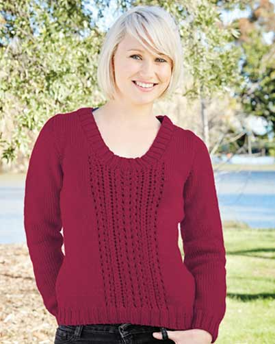 PT8369 - Ladies Jumper with Lace Panel - 10 Ply