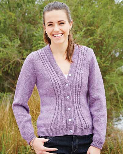 PT8368 - Ladies Cable Shaped Cardigan - 8 Ply