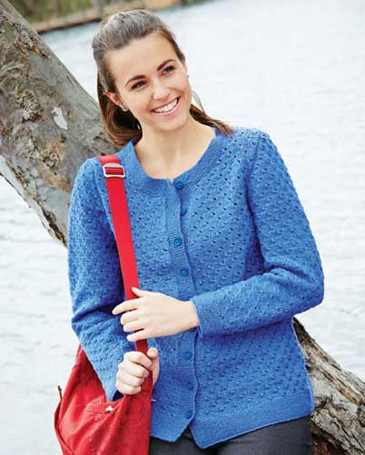 PT8364 - Ladies Cardigan with Eyelet Pattern - 8 Ply