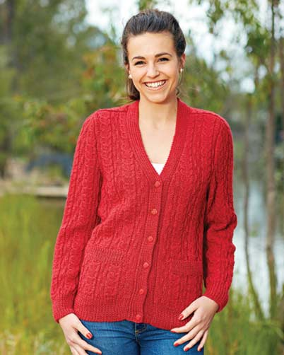 PT8363 - Ladies Patterned Saddle Shoulder Cardigan - 8 Ply