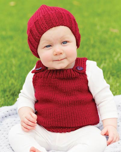 PT8384 - Babies Beanie and Vest in 10 Ply