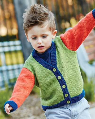 PT8413 - Kids Colour Cardigan in 8 Ply