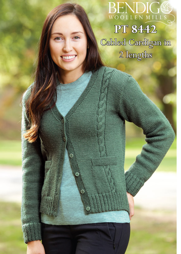 PT8442 - Ladies Cabled Cardigan in two lengths - 8 Ply